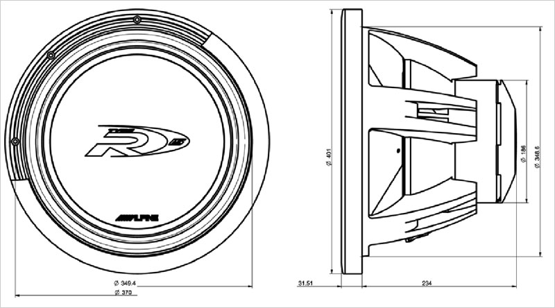 15 38cm subwoofer 4ohm 4ohm alpine swr 1542d swr 1522 swr 1542 dimension drawing